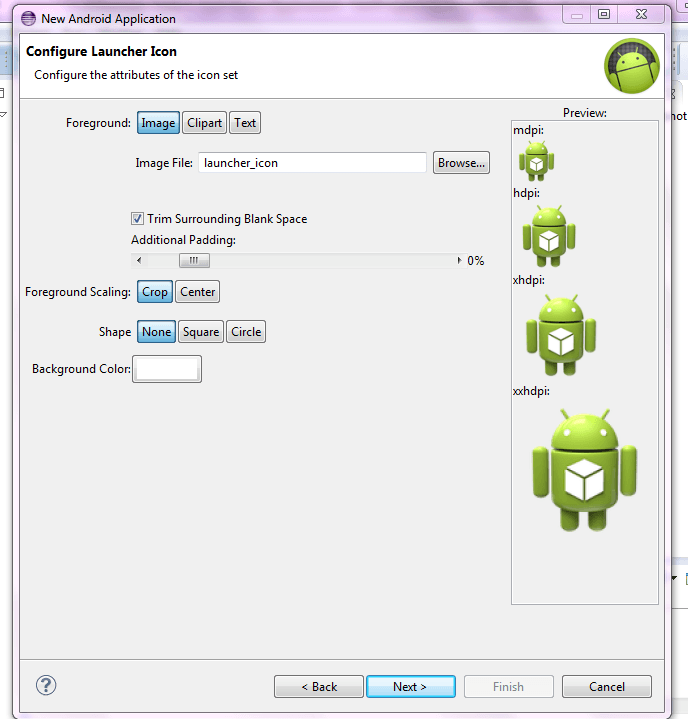4.configure launch icon