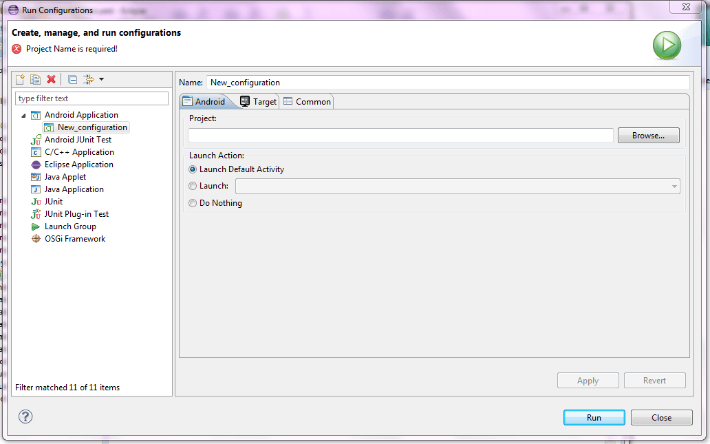 9. select configuration type